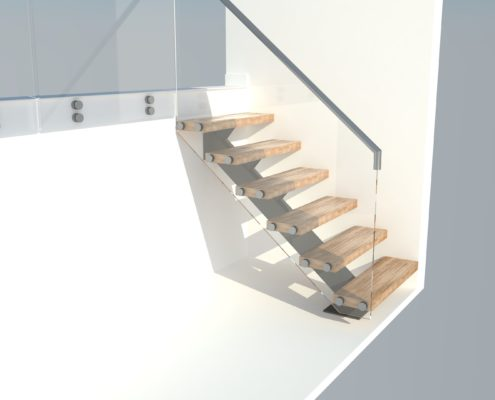 This staircase is manufactured from solid oak stave treads