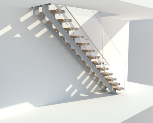 Oak and Frameless Glass Staircase with metal stringer